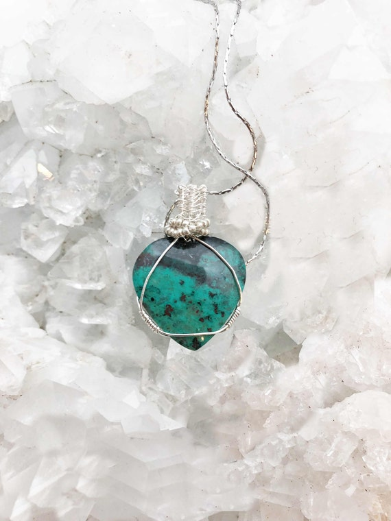 Very Beautiful Chrysocolla Heart Wrapped in Sterling