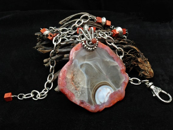 Reserved - Rare and Etherial Berber Agate Pendant Necklace