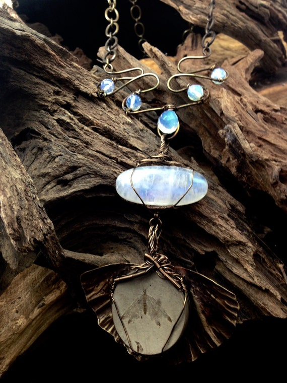 Fossil Moth from Green River CO with MoonStone and Bronze Wire Art and Bronze Ginkgo Leaf - Handmade in the USA