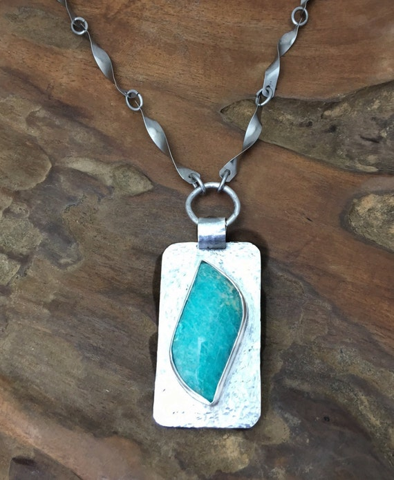 Amazonite Pendant on Hammered Sterling Silver Setting Hanging from a Handmade Stainless Steel Twisted Chain-Handmade in the USA