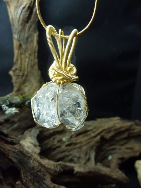 Double-terminated, Double Herkimer Diamond, Wrapped with Gold Filled Wire