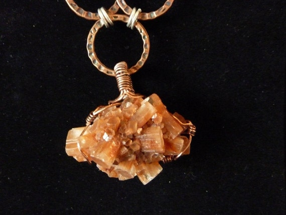 Stunning Aragonite Crystals & Hammered Copper Link Chain