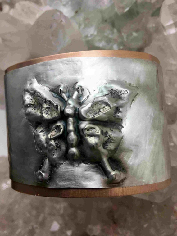 Chasing and Repousse Sterling Silver Cuff of Silver Butterfly  - Handmade in the USA