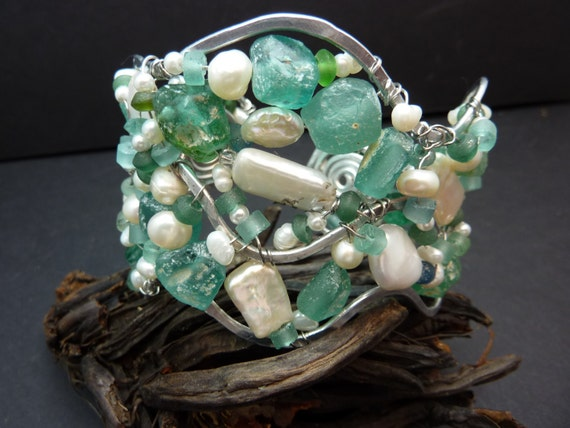 Lovely Roman Glass and Pearl Hammered Cuff Bracelet