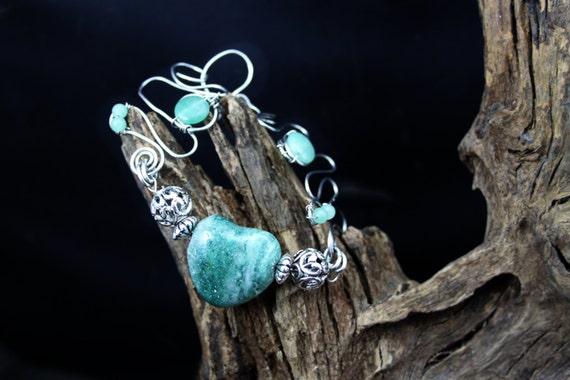 Adventurine Wire Art Bracelet - Handmade in America