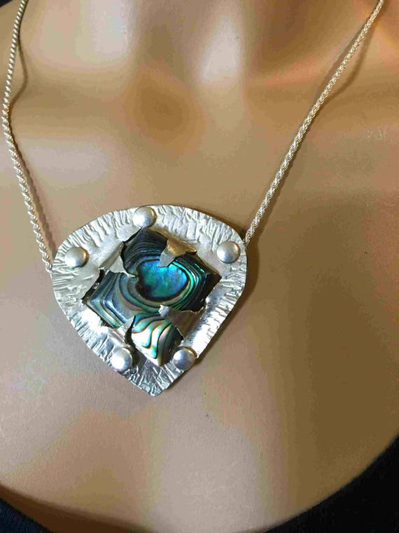Abalone Extraordinare Pendant with German Silver Backplate, with Sterling Chain - Handmade in the USA