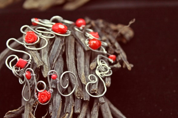 Great Valentine Gift-Wire Art Bracelet trimmed with Red Crystals and Red Composite Rose Buds - Handmade in America