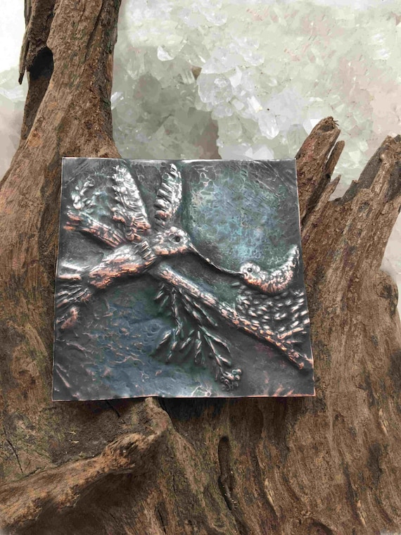 Reserved - Mom and Baby Hummingbird done in Chasing and Repousse - hand made in the USA