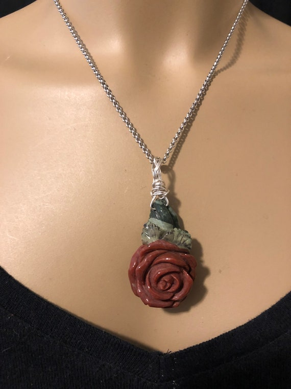 Hand Carved Rose from Red & Green Jasper with Silver Wire