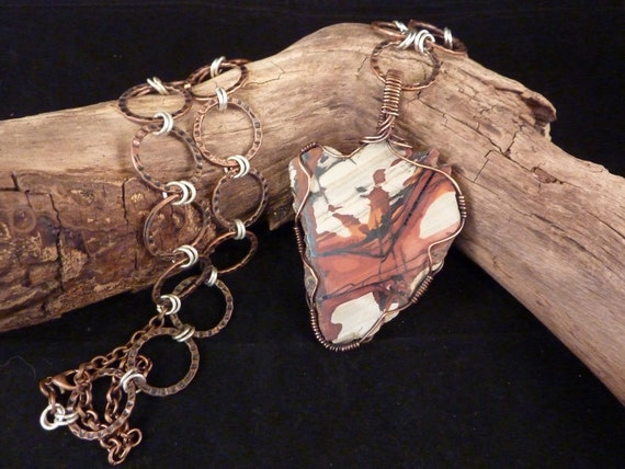Reserved-NFS-Heart Shaped Indian Paint Stone Pendant with Hammered Copper Rings and Silver Chain