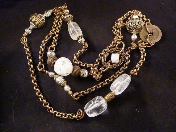 Custom Order-Crackled Crystal Quartz and Antiqued Brass Long Chain Necklace
