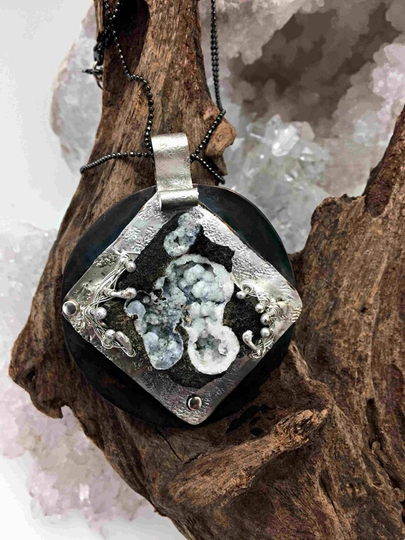 Unusual and Rare Formation of White Druzy with Black Matrix set in Sterling Silver and Backed with Oxidized Copper