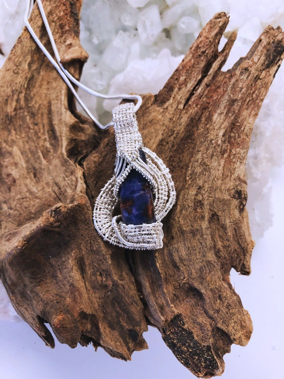 Raw Blue Sapphire Crystal Wrapped in Sterling Woven Wire and Hanging from a Sterling Chain - Handmade in the USA