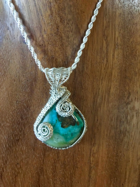 Stunning Gemsilica Chrysocolla Pendant with Sterling Silver
