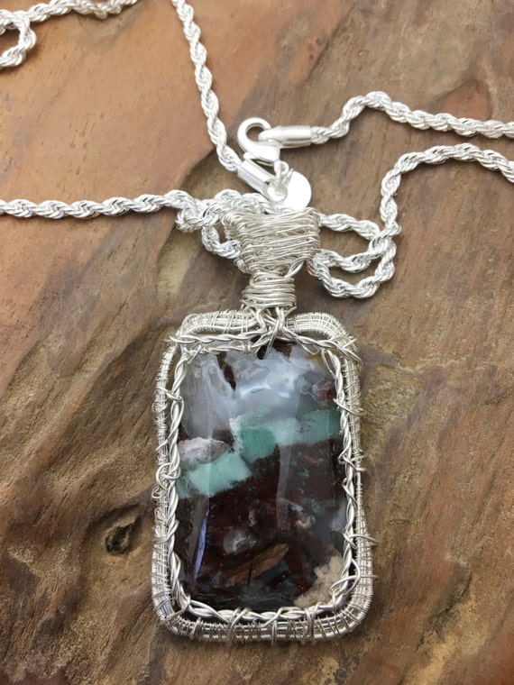 Beautiful Picture Agate Blues and Browns Pendant Necklace - Handmade in the USA