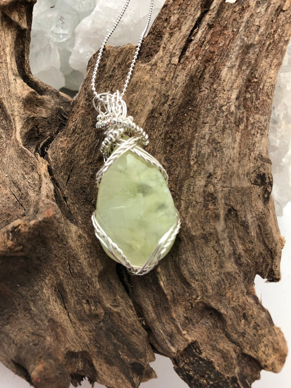 Yellow Prehnite Pendant Necklace - Handmade in the USA