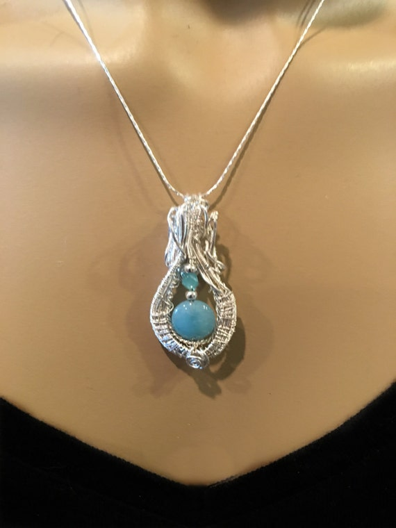 Blue Chalcedony and Sterling Pendant Necklace - Handmade in the US