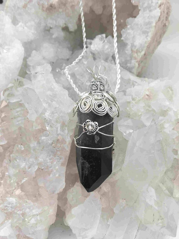 Reserved - Incredibly Powerful Smoky Quartz Wrapped in Sterling Silver Woven Wire - Handmade in the USA