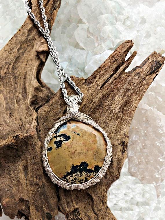 Gold and Black Picture Jasper Pendant Necklace