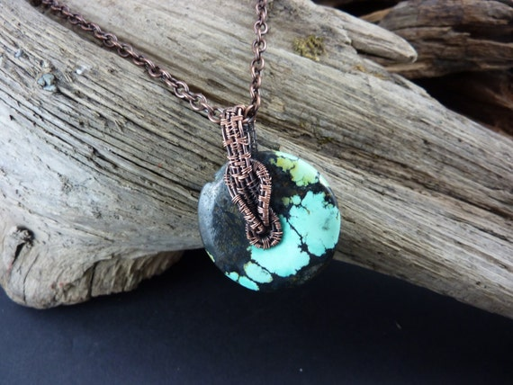 Beautiful Donut of Real Turquoise, Wirewrapped with Copper - Handmade in America