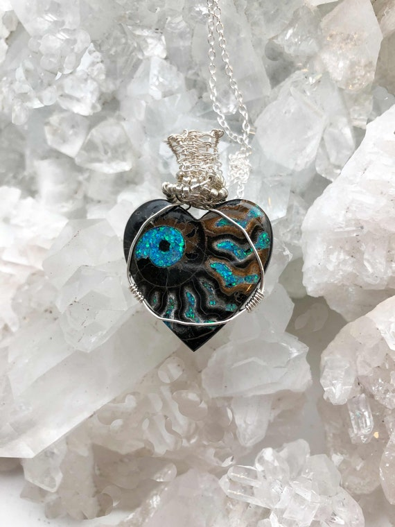 Beautiful Ammonite Inlaid with Chrysocolla - Hand made in the USA