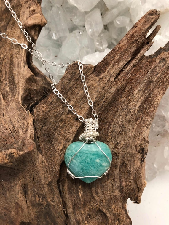 Lovely Amazonite Heart Pendant Necklace - Handmade in the USA