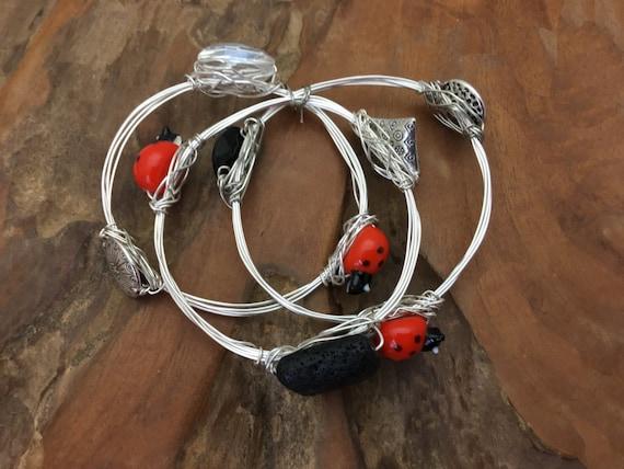 Ladybug Art Glass Valentine Bangles - Handmade in the US