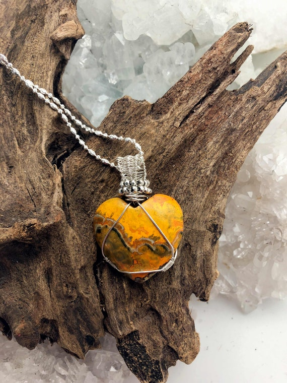 Bumblebee Jasper Heart Wrapped in Sterling on a Sterling Chain - Handmade in the Usa