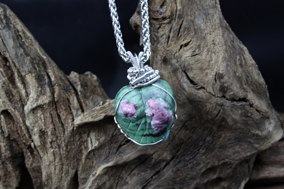 Reserved - Ruby In Fuchsite Carved Frogs on a Lilypad - Handmade in America