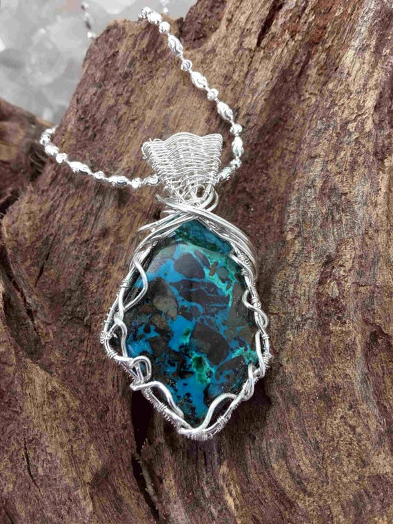 Chrysocolla and Azurite Pendant Necklace, Sterling Wire and Chain - Handmade in the USA