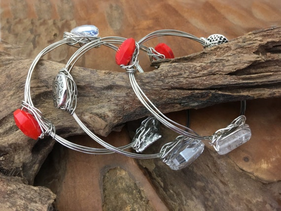 Heart Bangle Bracelets for Valentines Day - Handmade in the USAs