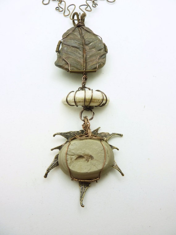 50 Million Year Old Grasshopper Fossil, Leaf Fossil and Claw Fossil - Handmade in the USA