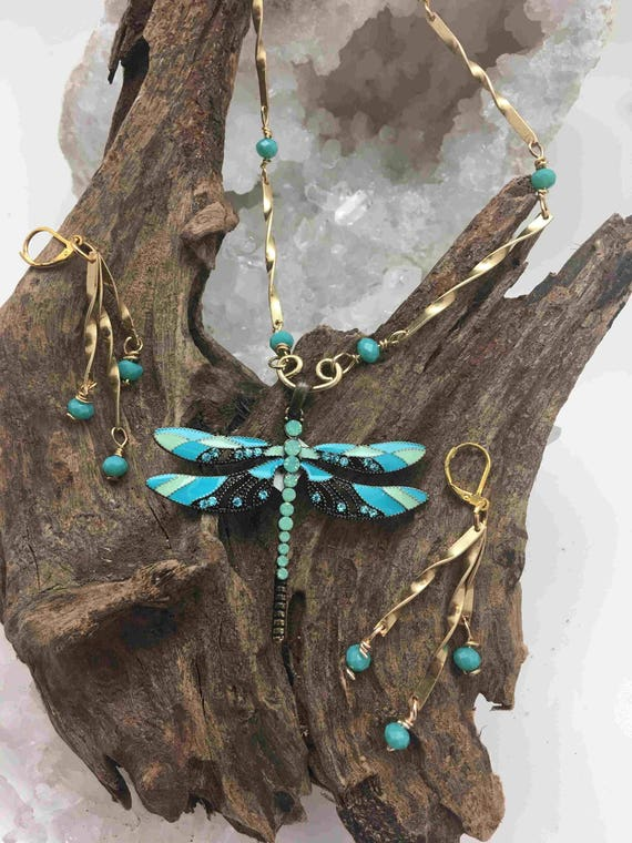 Enamel Dragonfly with Blue Crystals over Brass with Handmade Brass Chain  with Earrings-