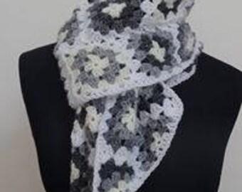 Grey and white granny square scarf, Granny square scarf, Neck warmer,  Granny square, Grey and white