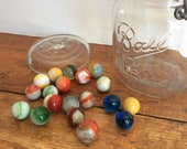 Vintage Marbles Agate Swirled Marbles Glass Marbles Marble Collection Cobalt Marbles in Canning Jar