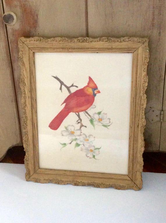 Vintage enmarcado pintura cardenal tela enmarcada aves | Etsy