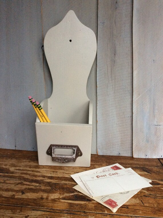 Vintage Wooden Storage Box Bin / Letter Holder / Upcycled Box / Home Office  / Desk Accessory / Wall Mount Letter Box /Bill Holder Pencil Box