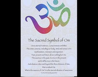OM Die Heiliges Symbol Des Gefaltet Leere Karte Text Aus Der Manduky Upanishad Mandala Design Auf Ruckseite Halten In Note 5 X 7 Framable Kunst
