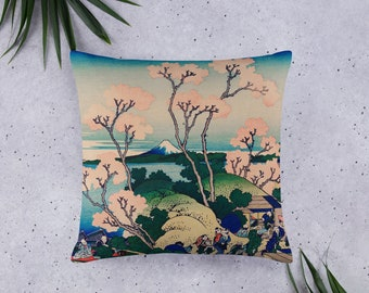 Basic Pillow, Cherry Blossom, Mt Fuji Design, 20 X 12 Inch, 18 X 18 Inch, or 22 X 22 Inch, Decorative Throw or Accent Pillow, Sofa accessory