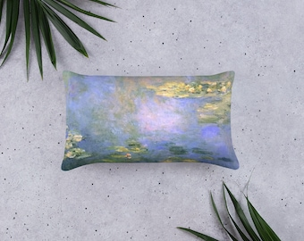 Basic Pillow in Water Lilies C 1906,Impressionist Design, Claude Monet, 20 X 12 Inch, 18 X 18 Inch, 22 X 22 In, Decorative Throw Pillow