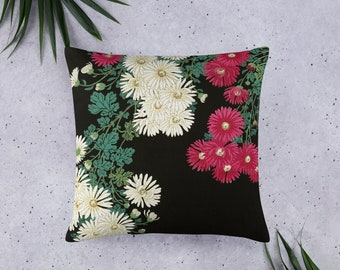Basic Pillow in Pink and White Floral Design, 20 X 12 Inch, 18 X 18 Inch, 22 X 22 Inch, Decorative Throw or Accent Pillow, Sofa accessory