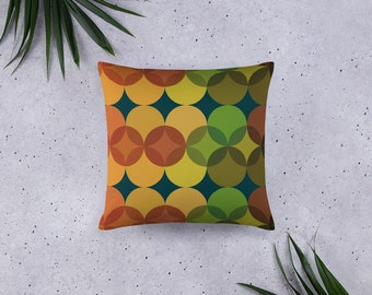 Basic Pillow in Mod Circle Design, Gold Green and Orange, 20 X 12 Inch, 18 X 18 Inch, 22 X 22 Inch, Decorative Throw Pillow, Autumn Hues