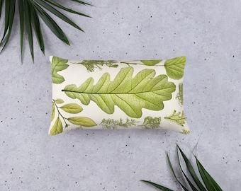 Basic Pillow in Botanical Oak Leaf Art Design, 20 X 12 Inch, 18 X 18 Inch, 22 X 22 Inch, Decorative Throw Pillow, Victorian Fern