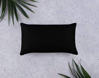 Basic Pillow, Basic Black Plain Design, 20 X 12 Inch, 18 X 18 Inch, 22 X 22 Inch, Decorative Throw Pillow, Minimalist Black, Sofa accessory