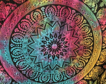 Handmade Elephant Mandala Tapestry, 55 in X 85 in, Purple, Pink Yellow and Blue, Use as Table Cloth, Curtain or Wall Hanging, Made in India