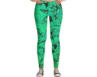 Leggings with Kale Design, Women's Active Wear, Green Leggings with Camoflage look