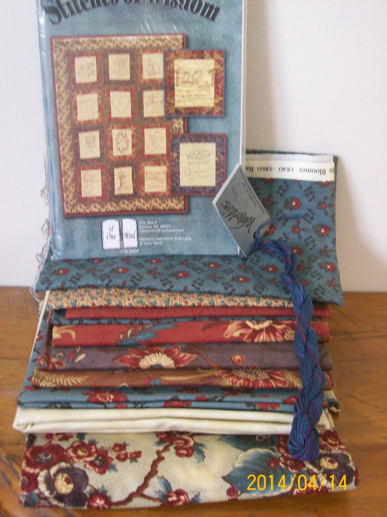 Sewing and embroidery Kit Quilt pattern embroidery floss and fabric Quilt Kit Stitches of Wisdom