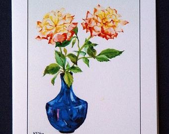 Set of 5 blank cards -Roses in a blue vase