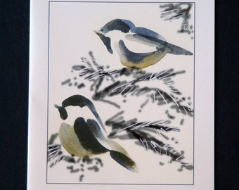 Set of 5 blank cards -Two Chickadees