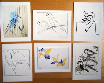 Set of 6 Blank Cards of Assorted Sketches -